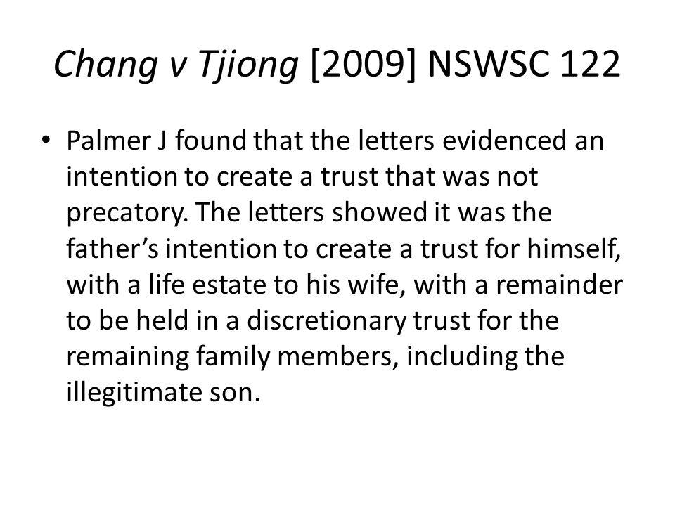 Chang v Tjiong [2009] NSWSC 122